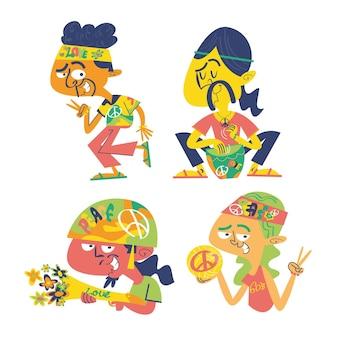 Hippie-doodle-aufkleber-set