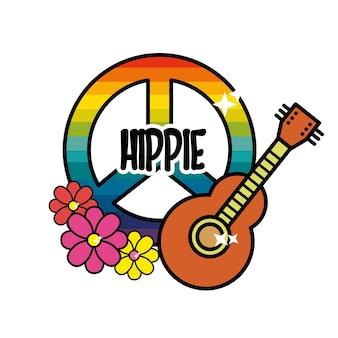 Hippie-emblem mit blumen und musikinstrument
