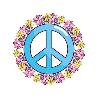 Hippie-emblem-symbol für frieden und liebe