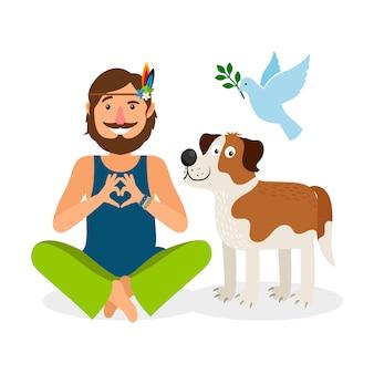 Hippie-friedensmann mit hund und taube