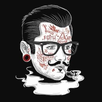 Hippie-herr mit tätowiertem gesicht illustrations-friseur theme