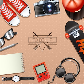 Hippie-hintergrund mit modesymbolen und modernem zusatz
