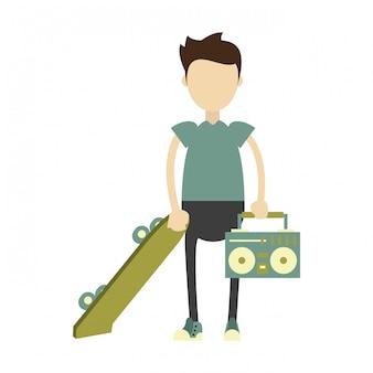 Hippie-junge mit grünem skateboard