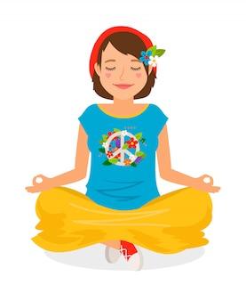 Hippie-mädchen-yoga-meditationsvektorillustration auf weiß
