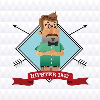 Hippie-mann-cartoon mit schnurrbart und brille innerhalb des rahmens mit bandikone. style mode vintage und kultur thema. bunter entwurf. polygonaler hintergrund. vektor-illustration
