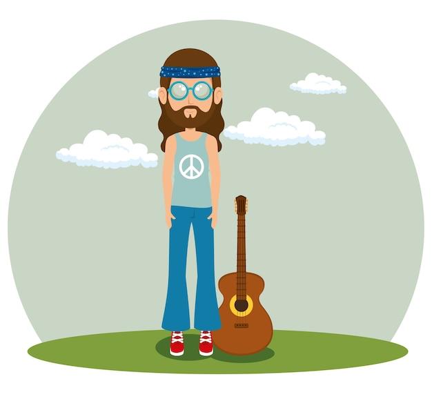 Hippie-mann mit einer gitarrenkarikatur