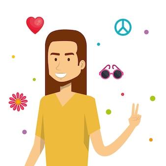 Hippie-mann mit verwandten objekten