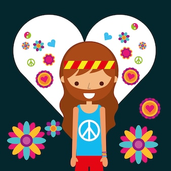 Hippie-manncharakter in liebesherzblumen