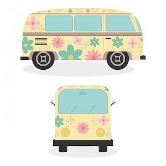 Hippie-transporter mit fahrzeugen mit blumendruck