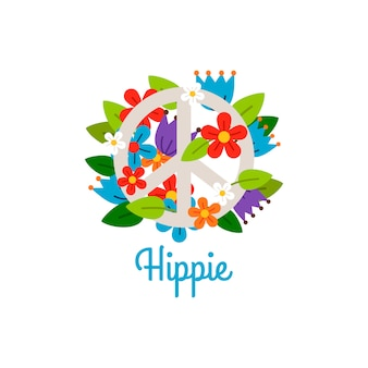Hippie-vintage-label mit blumen