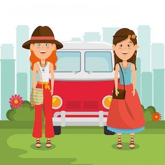 Hippiefrauen mit einem van