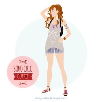 Hippiemädchen mit kleidung in boho-stil