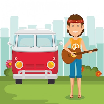Hippiemann, der gitarre spielt