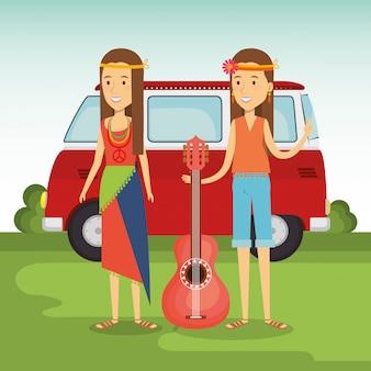 Hippiepaar mit einer gitarre und einem packwagen