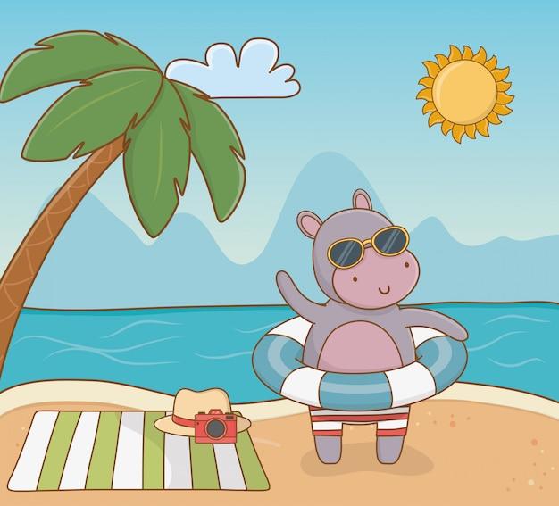 Hippo cartoon und sommersaison