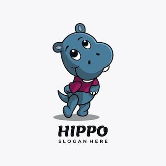 Hippo-charakter-maskottchen-logo-design-vektor-illustration