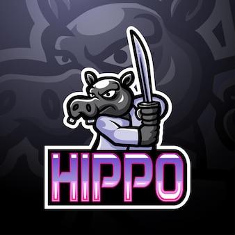 Hippo e sport logo-maskottchen-design