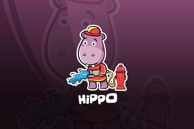 Hippo esport maskottchen design. feuerwehrmann