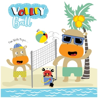 Hippo familie spielt volleyball lustige tierkarikatur