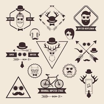 Hipster-abzeichenvorlagen mit platz für ihren text. symbole setzen beschriftungen hipster mit schnurrbart und kopf der hirschillustration