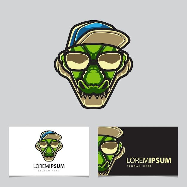 Hipster alligator logo