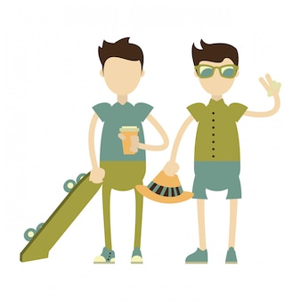 Hipster boys mit grünen skateboards