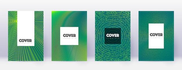 Hipster broschüre vorlage set. grüne abstrakte linien auf dunklem hintergrund. erstaunliches broschürendesign. großartiger katalog, poster, buchvorlage usw.