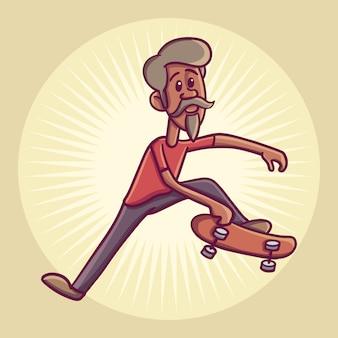 Hipster charakter auf longboard. illustration.