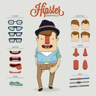 Hipster-charakter der abbildung mit zeichenelemente und symbole
