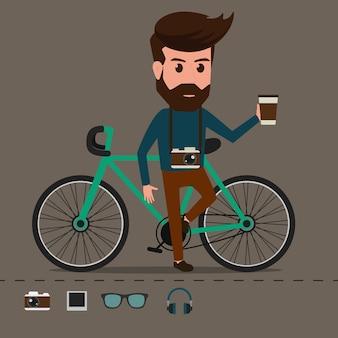 Hipster charakter mit fahrrad.