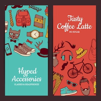Hipster doodle icons banner