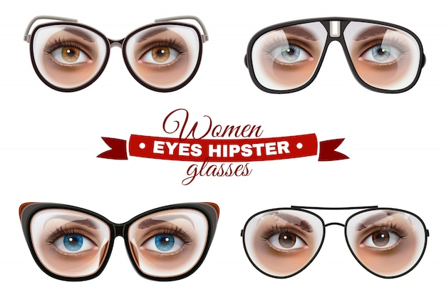 Hipster frauen brille set