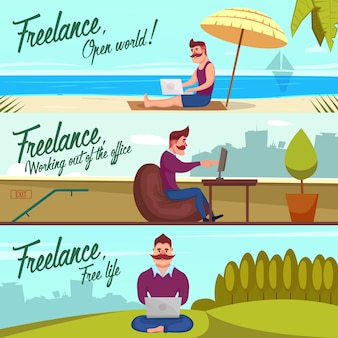 Hipster freelancer banner set