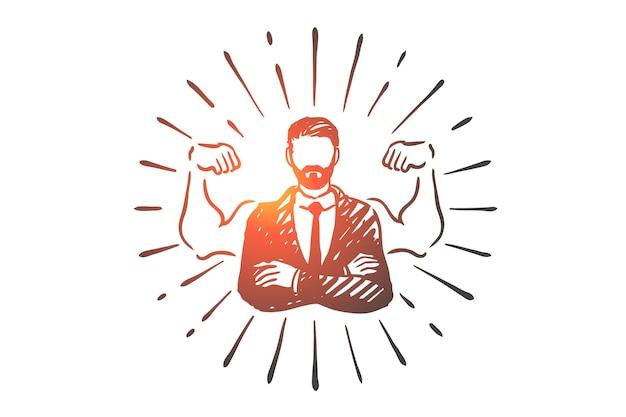 Hipster geschäftsmann, bart, manager, arbeit, anzugkonzept. hand gezeichnete erfolgreiche hipster-geschäftsmann-konzeptskizze.