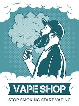 Hipster hält elektronische zigarette, er raucht und macht dampf. plakatschablone für vaping-geschäft oder verein. elektronische illustration der vape-zigarette und des vaporizers