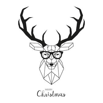 Hipster hirsch mit brille.