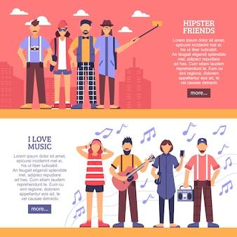 Hipster horizontale banner