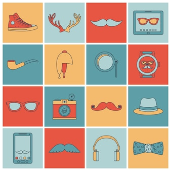 Hipster icons set flache linie