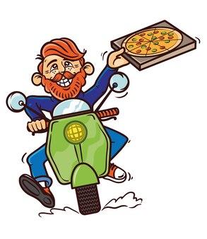 Hipster junge glückliche süße mann motorrad fahren schnelle geschwindigkeit roller lieferung essen essen pizza street food. moderne artillustrationsillustrationskarikaturfigur isolierte weißen hintergrundpizza-lieferkonzept