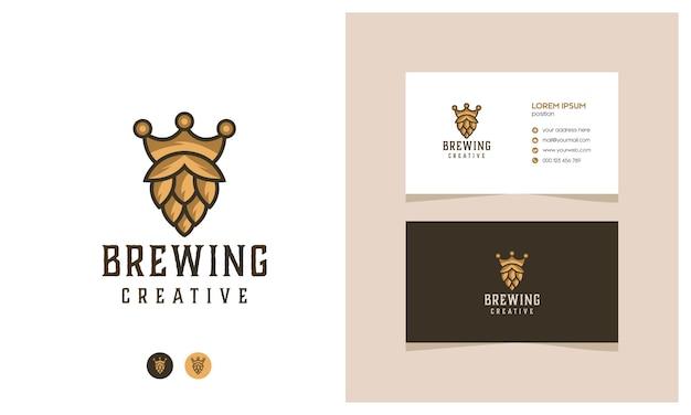 Hipster king beer logo mit einer visitenkarte