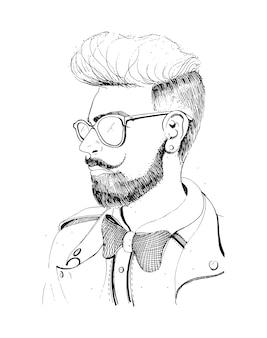 Hipster kopf mit bart, sonnenbrille. silhouette mann mode, retro, vintage-stil auf weiß