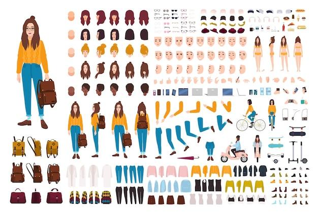 Hipster-mädchen-erstellungsset. satz flacher weiblicher zeichentrickfigur-körperteile, gesichtsgesten, frisuren, trendige kleidung, stilvolle accessoires einzeln auf weißem hintergrund. vektor-illustration.