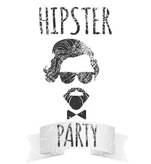 Hipster-männchen mit brille mit schriftzug - hipster-party. mode-vintage-vektor-illustration für logo, poster und t-shirt.