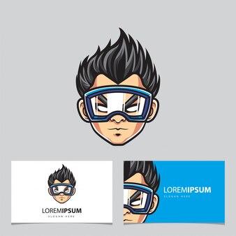 Hipster man maskottchen logo