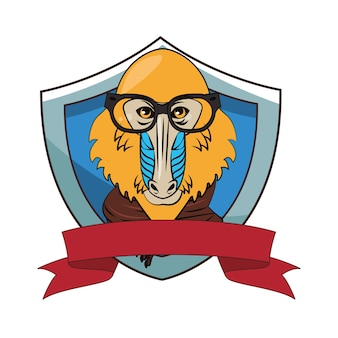 Hipster mandrill coole skizze
