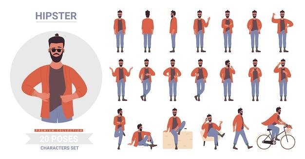 Hipster mann stellt illustrationssatz auf.