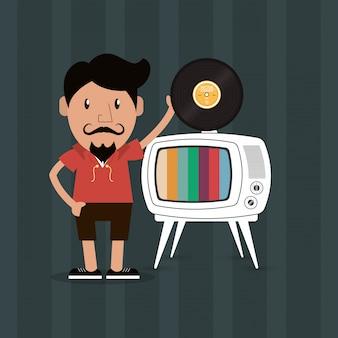 Hipster mann und tv-bild