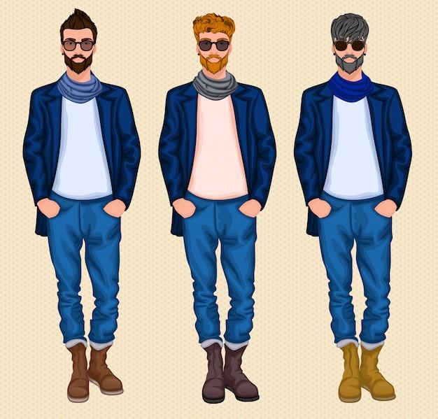 Hipster mann zeichensatz