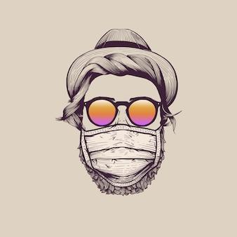 Hipster mit hut, der schutzgesichtsmaske trägt
