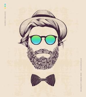 Hipster mit hut und jazz-bogen